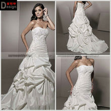 Surmount A Line Strapless Court Train Satin Beaded Lace Taffeta Cheap Wedding Dress (TY187)