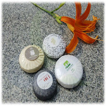 small round cheap disposable hotel soap with pleated wrapped packing/20g,30g..50g.