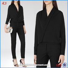 wrap front black long sleeve v-neck ladies different types of blouse designs