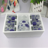 Wholesale Products 7 pcs Clear Decal Glass Jug/Cup Set Drinkware Glassware
