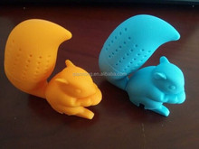 EMS Low Price Shipping 1000Pieces High Quality Squirrel Tea Strainers Silicone Tea Infuser Silicone Finders Steepers Infuser