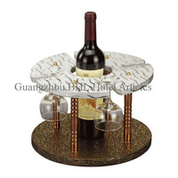 Hotel Supplies Round Leather Red Wine Rack YJ-2(A) with 4 Glass Holder, Single Bottle Wine Display Rack for Bar/Guest Room
