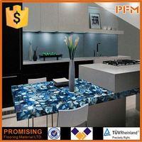 blue agate translucent countertop for hotel&villa project design