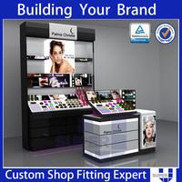 Professional make up display stand cosmetics shop cabinet wood shelf