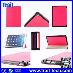 2015 New Arrived Crazy Horse Texture Tri-foldable Flip Stand TPU+PU Leather Case for iPad Air 2