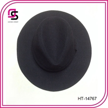 Mens Black Wool Felt Fedora with Grosgrain ribbon