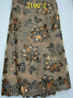 fashion design j100-2 brown net french lace with velvet for african party
