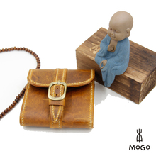 handmade leather short wallet