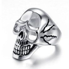 White Gold Plated Metal Alloy Skull Shape Men's Ring