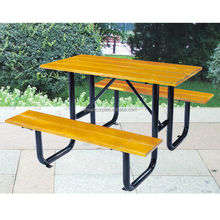 Household picnic table and chair, wood decking patio bench