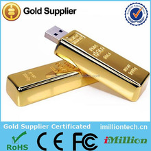 2015 New Products 4GB Gold USB Stick, 4GB USB Flash Gold, Golden Bar USB 4GB