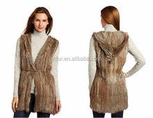 Color sólido / genuino de punto chaleco de piel de conejo / mujeres / venta al por mayor y al por menor