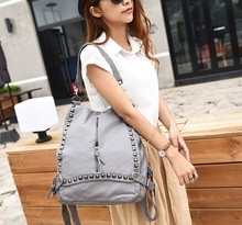 d60431h 2015 new Europe Aemeica rivet soft leather women wash backpack