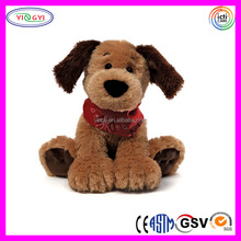 D031 Soft Brown Pleasing Sitting Puppy Stuffed Plush Dog with Scarf