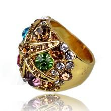 2015 European luxury latest gold ring designs fashion ring for women rhinestone wedding ring