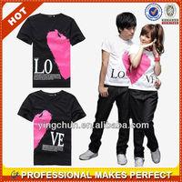 Hot! Korea fashion black couple t-shirt wholesale(YCT-A1135)