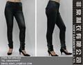 de parche de cuero en el bolsillo de la cadera y las rodillas del cráneo de cuero de la marca en la cadera pierna recta jeans p