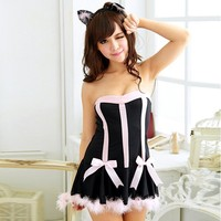 Fancy dress party accessories black cat babe sexy catwoman costume