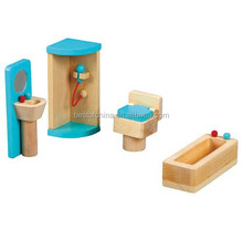 wooden toy Mini Furniture - Bathroom, Role playing doll house set kids toy,EN71 Best of China