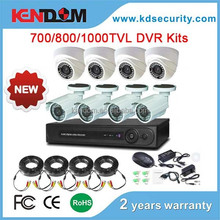 Kendom Latest DVR Kits 700TVL/800TVL/1000TVL Bullet and Dome Camera 8CH CCTV DVR Kit Security System For Indoor & Ourdoor Use