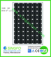 Best price mono solar panel 250 watt with high conversion efficiency