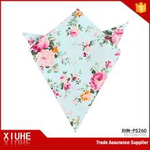 Custom Designs 100% Cotton Pocket Squares Floral printed Women Men Hankerchief Hanky