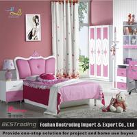 wholesale MDF board modern pink princess girls bed
