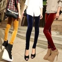 DD017 manufacturers Spot wholesale fashion autumn new nine points significantly thin gold velvet pants leggings Korea