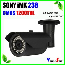 Excellent image 2.8-12mm zoom lens 42pcs ir leds sony cmos 1200TVL built-in ir cut WDR function analog bullet camera Vision Star