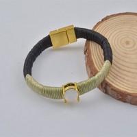 B7628-01Fashion Opal Color Rhinestone Rope Twisted Magnetic Clap Bracelet