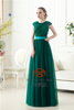 Real Pictures SHMY-E0100 Short Sleeve O-Neck Sequined Beaded Floor Length Evening Dress 2015