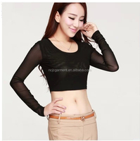 2014 summer hot sale sexy transparent t shirt for women lace half length t shirt
