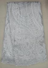 J498-2 cor branca de alta qualidade bordado tule de malha bordado