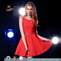 latest thailand red color hollow out women fashion dress