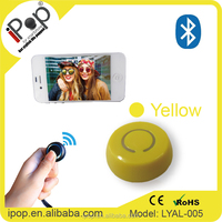 Ipop Mini camera Round Bluetooth Selfie stick snap shutter button-Yellow