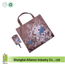 Easy Carry 190D Polyester Coffee Color Sublimation Printing Cheap Shopping Tote Bag With Button And Hook