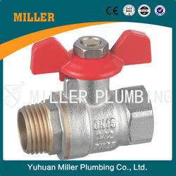 MILLER CE Approved 1/4 inch Forged Brass Ball Valve For Water And Gas With Steel Handle two Way brass ball valve ML-2003