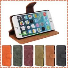 Retro Matte PU Leather Flip Wallet Case For iPhone 6, 6s, 6 plus, 6s plus