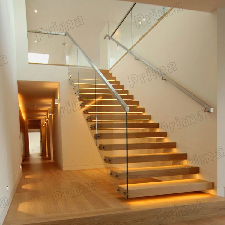 Prefabricated floating stairs with laminated glass step for Manufactured stairs