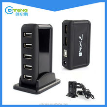 7 Ports USB 2.0 Hub High Speed + AC Power Adapter US Plug for PC Laptop Desktop