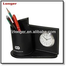 Business gift desktop leather pen holder with alarm clock