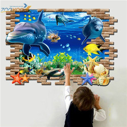 Removable 3D cartoon sealife Wall Stickers for nursery Room ( ZY8009 ) 60 *90 cm