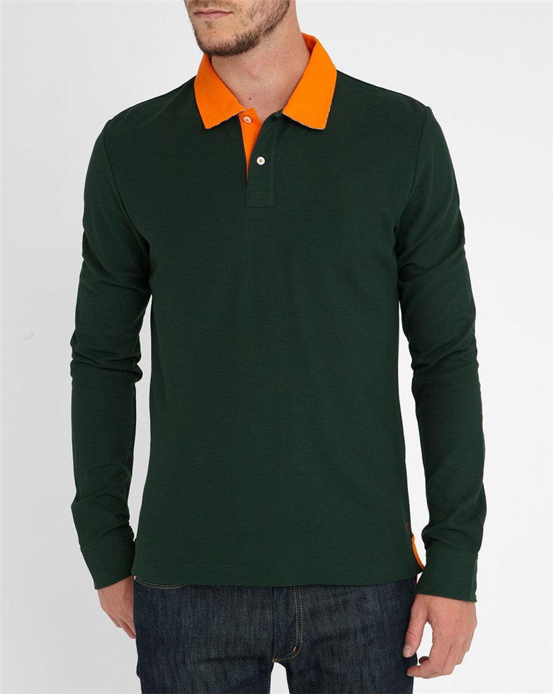 Wholesale cheap orange collar contrast polo shirts long for Cheap polo collar shirts