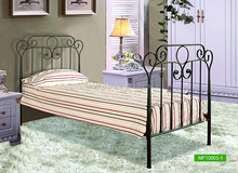 Modern brown home furniture iron metal twin bed