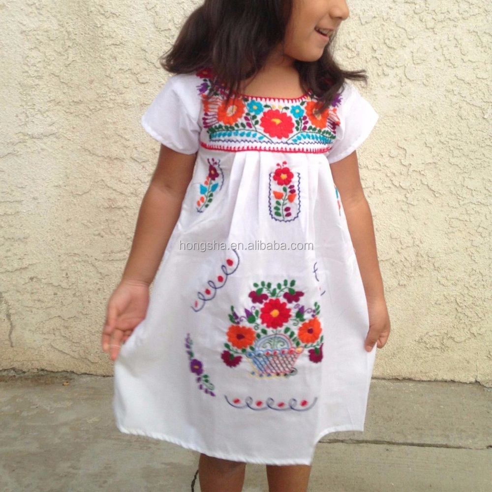Vintage Mexican Embroidered Dress Latest Smoking Dress Designs For Flower Girls HSD1290-5.JPG