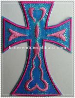 embroidered cross patches with iron on backing