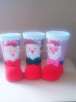 Christmas Boot ZY14Y459-1-2-3 ,Velvet Polish Plastic Santa Claus Boots/Holiday inflatable floating santa claus