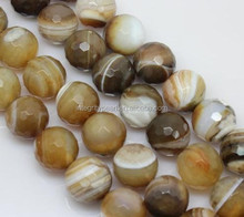 14mm big natural faceted wrapping coffee brown striped agate beads