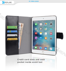 pu detachable wallet case for ipad mini 4,nice stitching with free move back case and stand,multi colors are available