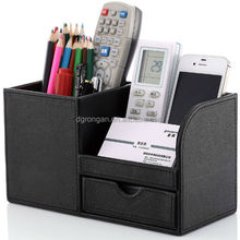 8.66X4.13X4.84 Inch wooden struction multi-function black pu leather pen holders desk organizers for pen mobiles